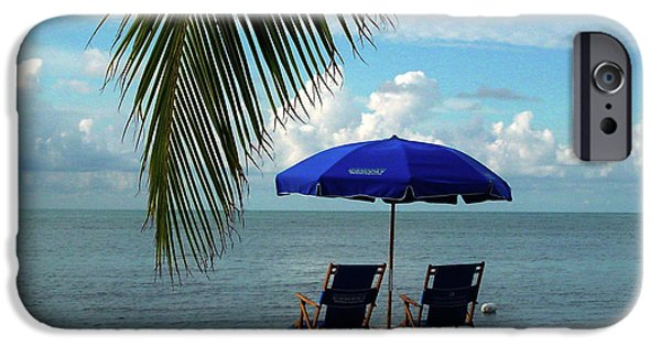 Beach Chair iPhone Cases - Sunday Morning at the Beach in Key West iPhone Case by Susanne Van Hulst