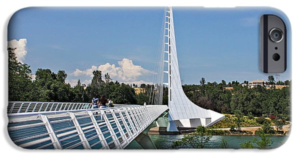 White River Scene Photographs iPhone Cases - Sundial Bridge - Sit and watch how time passes by iPhone Case by Christine Till