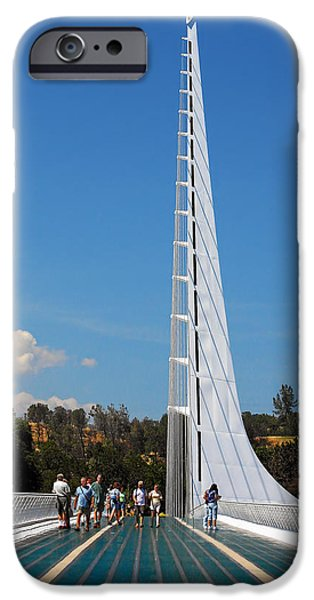 White River Scene Photographs iPhone Cases - Sundial bridge - This bridge is a glass-and-steel sculpture iPhone Case by Christine Till