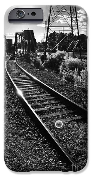 Appleton Photographs iPhone Cases - Sundown Gleaming Off The Rails iPhone Case by Shutter Happens Photography