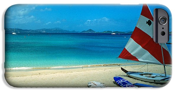Sailboat Photos iPhone Cases - Sunfish on the Beach iPhone Case by Kathy Yates