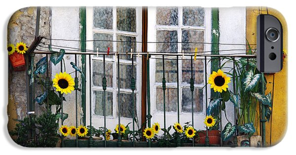 Balcony Photographs iPhone Cases - Sunflower balcony iPhone Case by Carlos Caetano