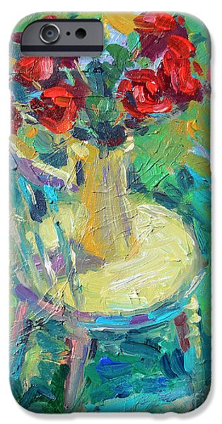 Texture Drawings iPhone Cases - Sunny Impressionistic rose flowers still life painting iPhone Case by Svetlana Novikova