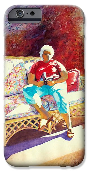 Interior Scene iPhone Cases - Sunny Retreat 3 iPhone Case by Kathy Braud