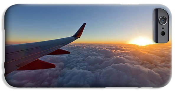 Airline iPhone Cases - Sunrise Above the Clouds on Southwest Airlines iPhone Case by Dustin K Ryan
