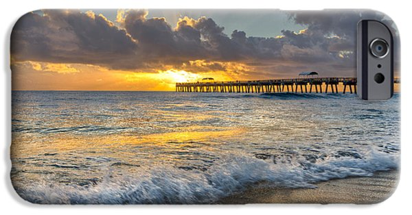 Tidal Photographs iPhone Cases - Sunrise Lights iPhone Case by Debra and Dave Vanderlaan