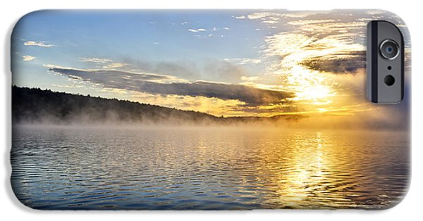 Sunrise iPhone Cases - Sunrise on foggy lake iPhone Case by Elena Elisseeva