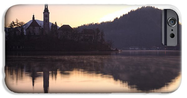 Summer iPhone Cases - Sunrise over Lake Bled iPhone Case by Ian Middleton