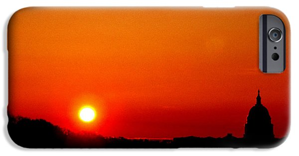 Of Power iPhone Cases - Sunrise over the Capitol Washington DC iPhone Case by Thomas R Fletcher