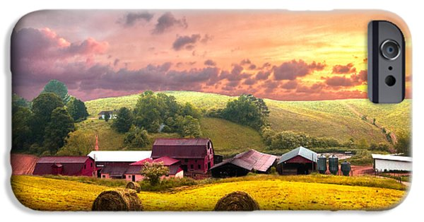 Tennessee Barn iPhone Cases - Sunrise Pastures iPhone Case by Debra and Dave Vanderlaan