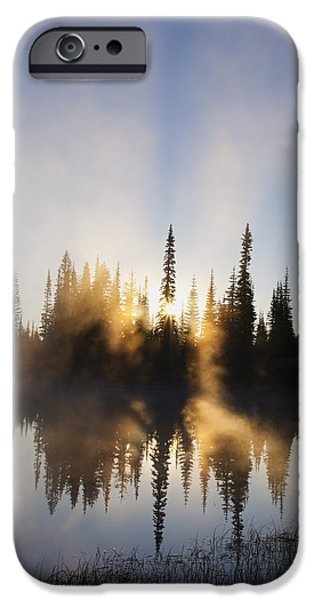 Rainy Day iPhone Cases - Sunrise Reflected In Reflection Lake In iPhone Case by Craig Tuttle