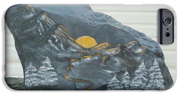 Sunset Sculptures iPhone Cases - Sunset and Mountains iPhone Case by Monika Dickson-Shepherdson