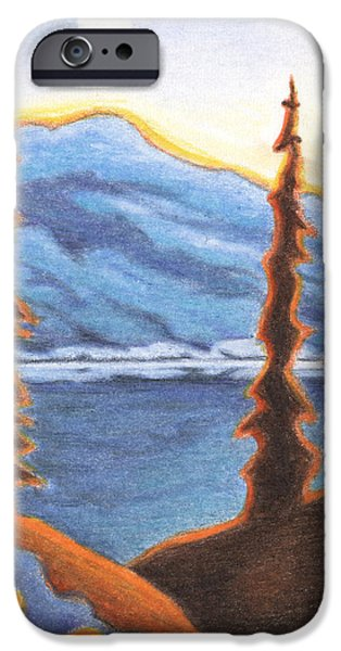 Pines Drawings iPhone Cases - Sunset Fire iPhone Case by Amy S Turner