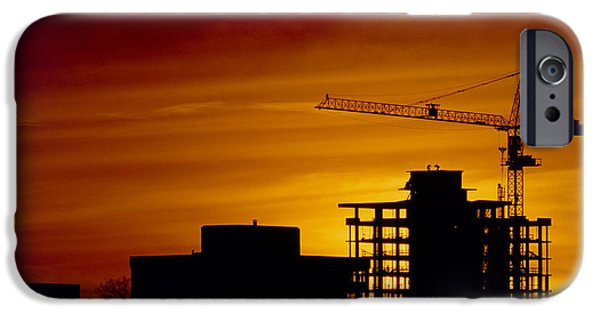 Building Site iPhone Cases - Sunset & High-rise Construction Site, Vancouver iPhone Case by David Nunuk