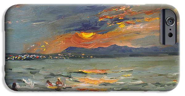 Greece iPhone Cases - Sunset in Aegean Sea iPhone Case by Ylli Haruni