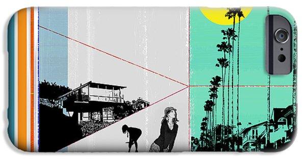 Naxart Digital Art iPhone Cases - Sunset in LA iPhone Case by Naxart Studio