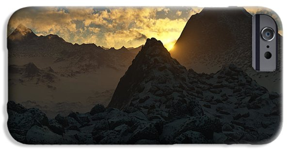Norwegian Sunset iPhone Cases - Sunset in the Stony Mountains iPhone Case by Hakon Soreide