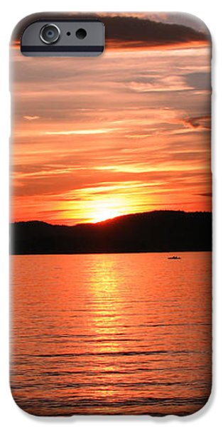Sunset-Lake Waukewan 1 iPhone Case by Michael Mooney