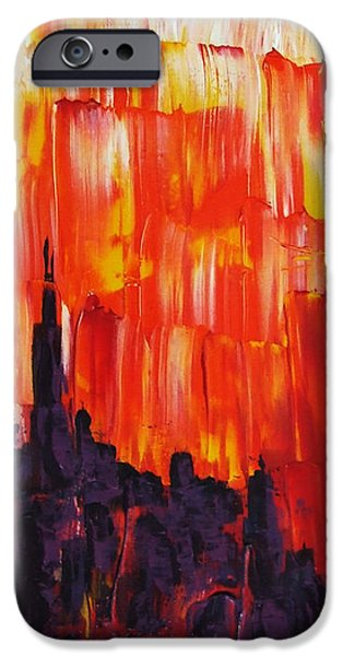 Willis Tower Paintings iPhone Cases - Sunset of Melting Waterfall Behind Chicago Skyline or Storm Reflecting Architecture and Buildings iPhone Case by M Zimmerman MendyZ