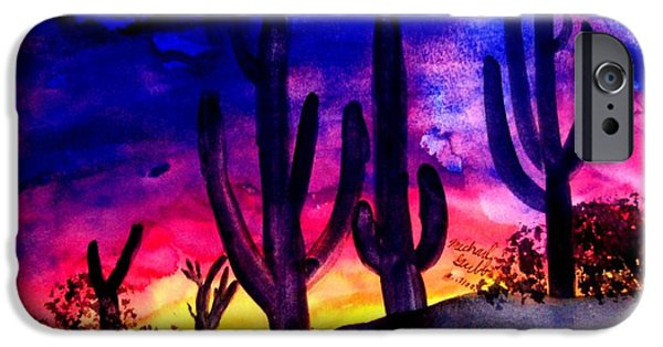 Beauty Mark iPhone Cases - Sunset On Cactus iPhone Case by Mike Grubb