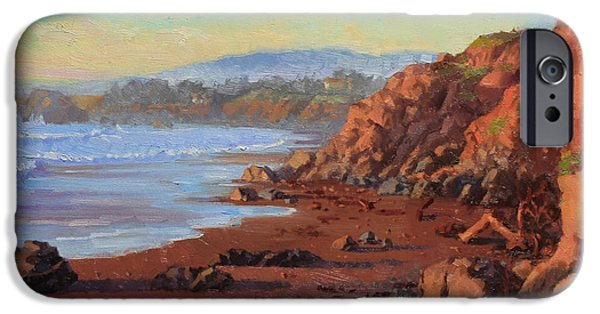 Flying Seagull Paintings iPhone Cases - Sunset on Cambria CA iPhone Case by Gary Kim