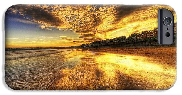 Ocean Sunset iPhone Cases - Sunset on the Beach iPhone Case by Svetlana Sewell