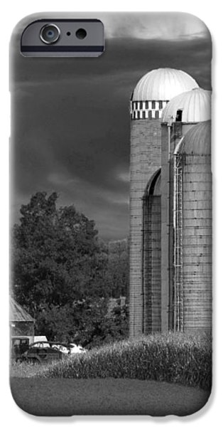 Sunset On The Farm BW iPhone Case by David Dehner