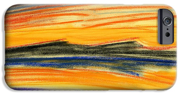 Expressionism Pastels iPhone Cases - Sunset on the Lake iPhone Case by Hakon Soreide