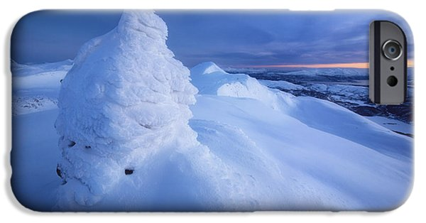 Landscape In Norway iPhone Cases - Sunset On The Summit Toviktinden iPhone Case by Arild Heitmann