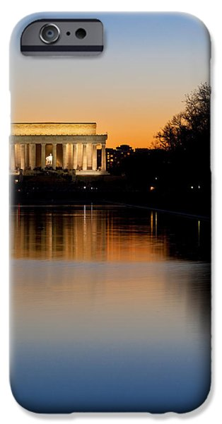 Honest Abe iPhone Cases - Sunset over Lincoln Memorial iPhone Case by Brian Jannsen