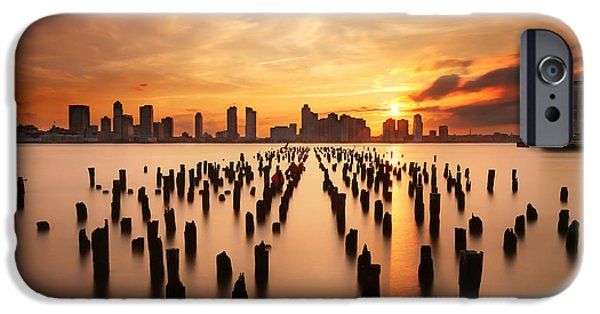 Hudson River iPhone Cases - Sunset over the Hudson River iPhone Case by Larry Marshall