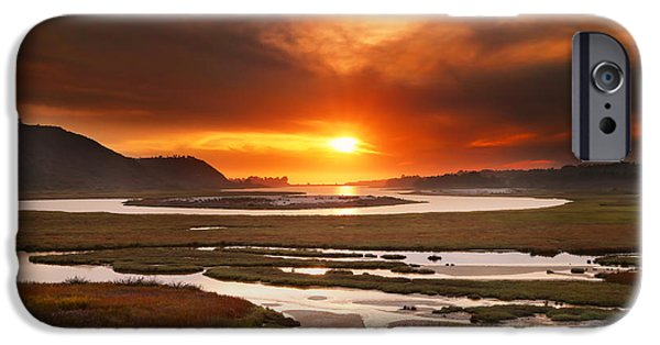 Sunset iPhone Cases - Sunset Over the San Elijo Lagoon iPhone Case by Larry Marshall
