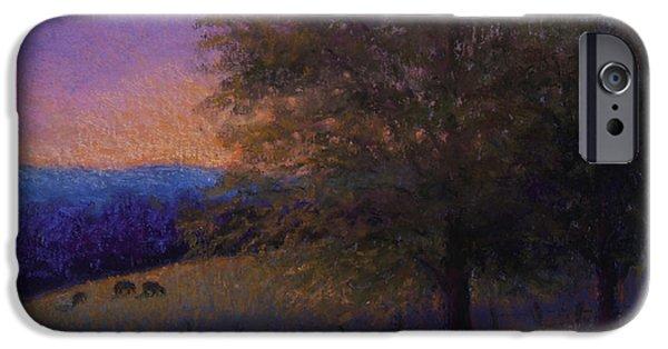 Farm Landscape Pastels iPhone Cases - Sunset Pasture iPhone Case by Susan Jenkins