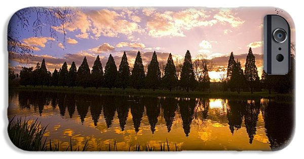 State Parks In Oregon iPhone Cases - Sunset Reflection In A Park Pond iPhone Case by Craig Tuttle