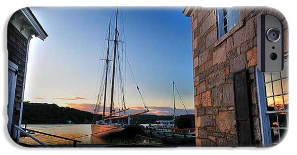 Historic Schooner Photographs iPhone Cases - Sunset Reflections - Mystic Seaport iPhone Case by Thomas Schoeller