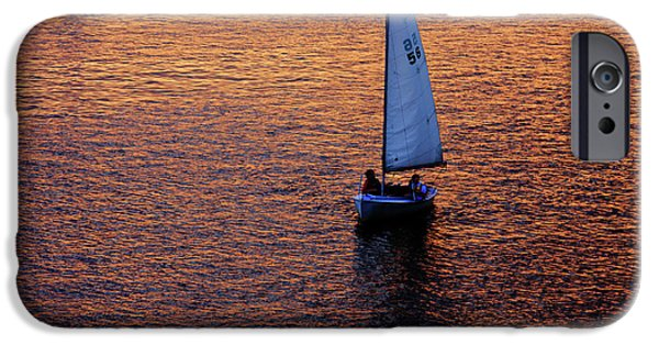 Boston Charles River iPhone Cases - Sunset Sailing iPhone Case by Rick Berk