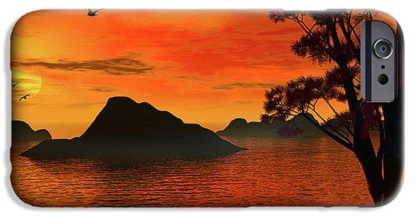 Burnt Digital Art iPhone Cases - Sunset Serenade iPhone Case by Lourry Legarde