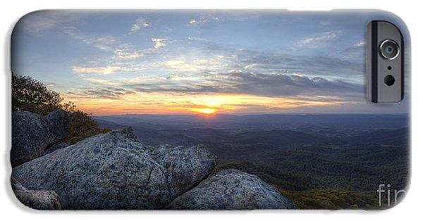Marys iPhone Cases - Sunset Shenandoah National Park Marys Rock iPhone Case by Dustin K Ryan