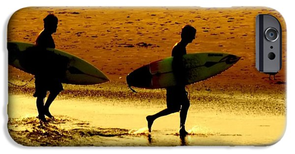 Beach Sunsets iPhone Cases - Sunset Surfers  iPhone Case by Benanne Stiens