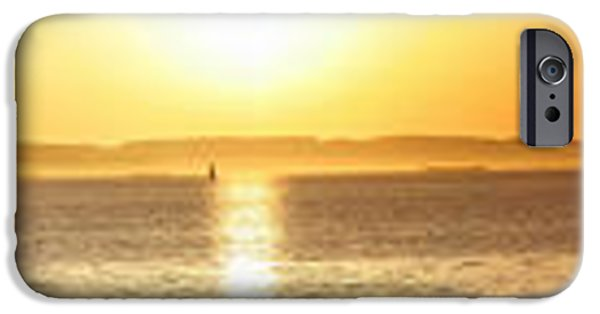 Alcatraz iPhone Cases - Sunset Viewed From The Berkeley Shoreline Looking Across From The Bay Bridge To The Marin Headlands iPhone Case by Wingsdomain Art and Photography