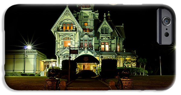 Super Moon iPhone Cases - Super Moon over Carson Mansion iPhone Case by Greg Nyquist