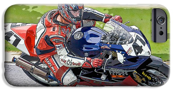 Opie iPhone Cases - Superbike Racer I iPhone Case by Clarence Holmes
