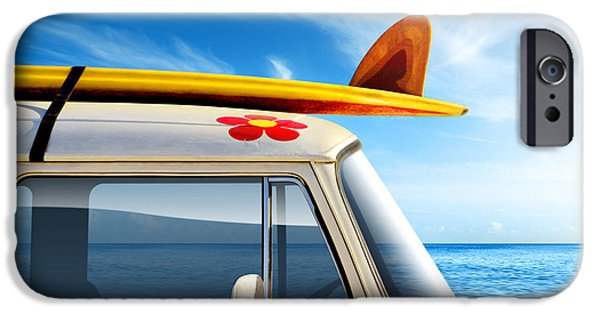 Vintage Cars iPhone Cases - Surf Van iPhone Case by Carlos Caetano