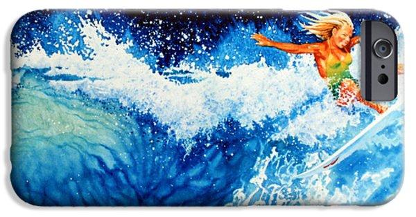 Sport Artist iPhone Cases - Surfer Girl iPhone Case by Hanne Lore Koehler