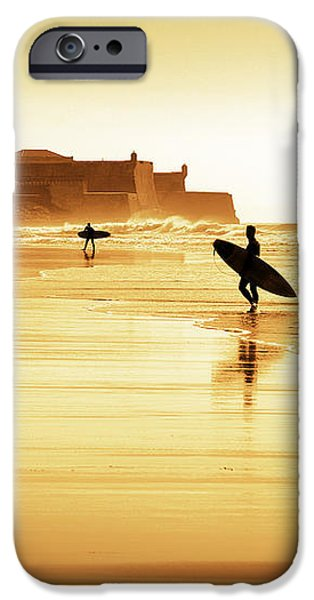 Surfers silhouettes iPhone Case by Carlos Caetano