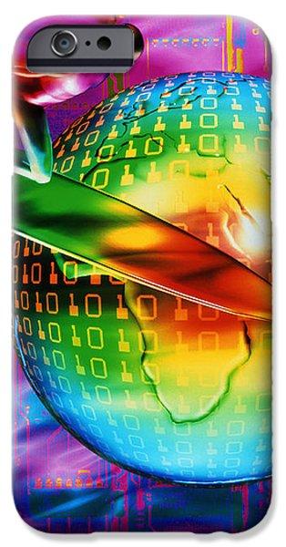 Surfing Cyberspace iPhone Case by Mehau Kulyk