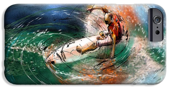 Wind Surfing Art iPhone Cases - Surfscape 03 iPhone Case by Miki De Goodaboom