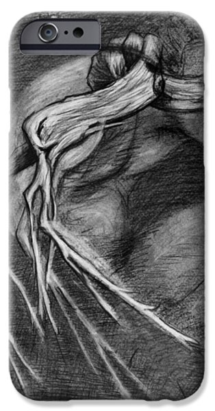 Shed Drawings iPhone Cases - Surreal drawing with figure cicada and branch iPhone Case by Adam Long