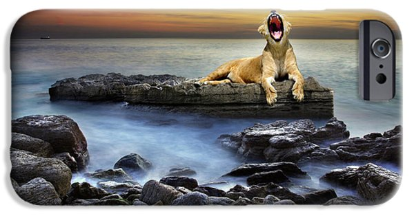 Sleepy iPhone Cases - Surreal lioness iPhone Case by Carlos Caetano