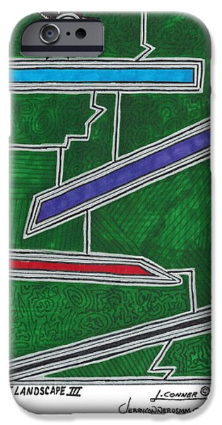 Abstract Seascape Drawings iPhone Cases - Surrealist Landscape 3 iPhone Case by Jerry Conner